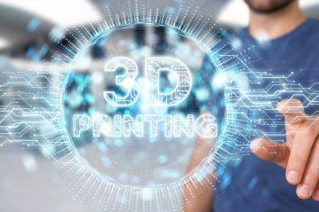 Businessman on blurred background using 3D printing digital hologram 3D rendering